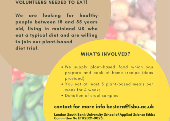 Volunteers Needed to Eat. Study flyer