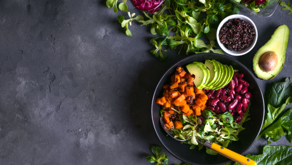 Bowl of healthy avocado, protein and vegetable salad