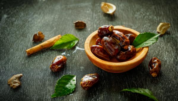 Medjool dates in a bowl