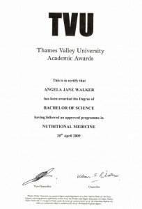 Thames Valley University Academic Awards - Nutritional Medicine